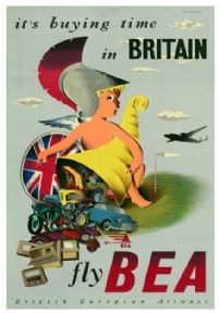 Fly B.E.A. it's buying time in Britain. Airline Travel Poster by John Bainbridge